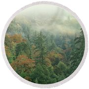 Fall Color And Fog Near Garberville California Round Beach Towel
