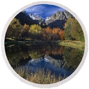 Fall Color And Reflection Below Middle Palisades Glacier California Round Beach Towel