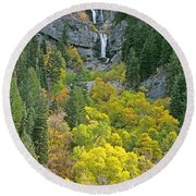 Fall Color And Waterfalls In Provo Canyon Utah Round Beach Towel