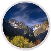 Fall Color Below Middle Palisades Glacier Eastern Sierras California Round Beach Towel
