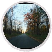 Fall Color Blur Round Beach Towel