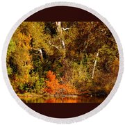 Fall Color Creekside Round Beach Towel