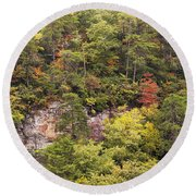 Fall Color In Little River Canyon Round Beach Towel
