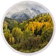 Fall Color In The Rockies Near Ouray Dsc07913 Round Beach Towel