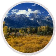 Fall Color Tetons Blacktail Ponds Grand Tetons Nationa Round Beach Towel
