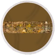 Fall Colored Pond Round Beach Towel