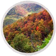 Fall Colors Along The Blueridge Round Beach Towel