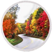 Fall Colors Along The Blueridge Parkway Round Beach Towel