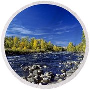 Fall Colors Along The Naches River Round Beach Towel