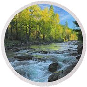 Fall Colors And The Little Salmon River Round Beach Towel