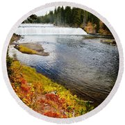 Fall Colors And Waterfalls Round Beach Towel