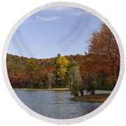 Fall Colors At Sherando Lake Round Beach Towel