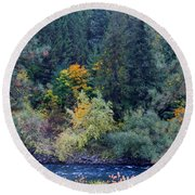 Fall Colors By The Spokane River Round Beach Towel