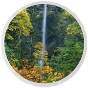 Fall Colors Frame Multnomah Falls Columbia River Gorge Oregon Round Beach Towel