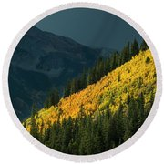 Fall Colors In Aspen Colorado Round Beach Towel