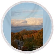 Fall Colors In New England Round Beach Towel