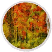 Fall Colors In Ohio Round Beach Towel
