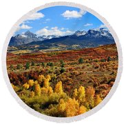 Fall Colors In Ridgway Colorado Round Beach Towel