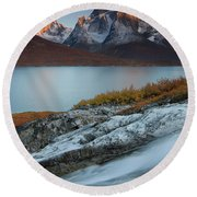 Fall Colors In Tasermiut Fiord Round Beach Towel