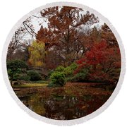 Fall Colors In The Garden Round Beach Towel