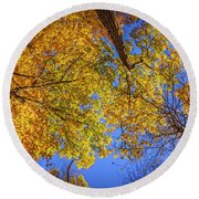Fall Colors In The Sky  Round Beach Towel