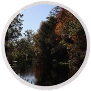 Fall Colors In The Swamp Round Beach Towel