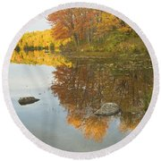 Fall Colors On Taylor Pond Mount Vernon Maine Round Beach Towel by Keith Webber Jr