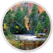 Fall Colors On The  Tahquamenon River   Round Beach Towel