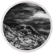 Fall Colors Stream Great Smoky Mountains Painted Bw Round Beach Towel