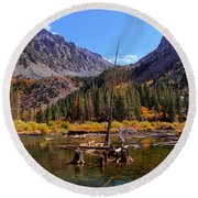 Fall Colours Reflection Round Beach Towel
