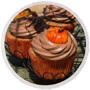 Fall Cupcakes Round Beach Towel