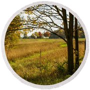 Fall Day In The Ozarks Round Beach Towel