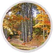 Fall Driveway And Coco The Dog Round Beach Towel