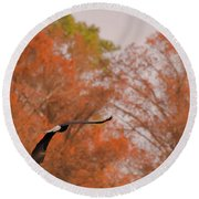 Fall Eagle Round Beach Towel