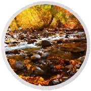 Fall Flow At Mcgee Creek Round Beach Towel