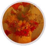 Fall Flower Bouquet Round Beach Towel