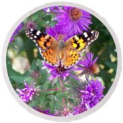 Fall Flutterby Round Beach Towel