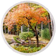 Fall Folage And Pond 2 Round Beach Towel