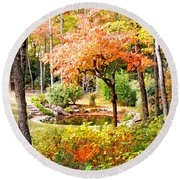 Fall Folage And Pond Round Beach Towel