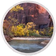 Fall Foliage Along The Virgin River Round Beach Towel