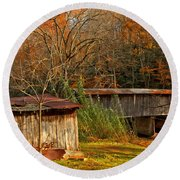 Fall Foliage At Meems Bottom Bridge Round Beach Towel