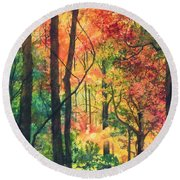Fall Foliage Round Beach Towel by Barbara Jewell