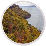 Fall Foliage On The New Jersey Palisades II Round Beach Towel