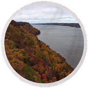 Fall Foliage On The New Jersey Palisades  Round Beach Towel