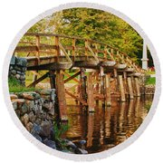 Fall Foliage Over The North Bridge Round Beach Towel