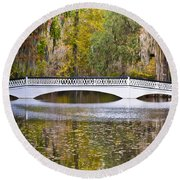 Fall Footbridge Round Beach Towel