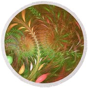 Fall Fractal Fields Round Beach Towel