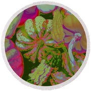 Fall Gourds Pinked Round Beach Towel