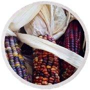 Fall Harvest Corn Round Beach Towel