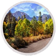 Fall Hiking In The High Sierras Round Beach Towel